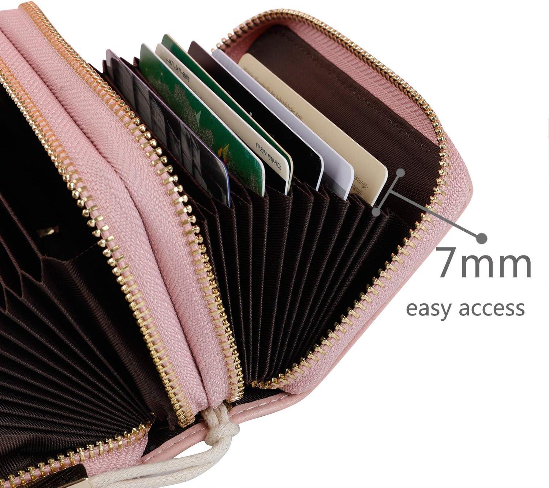 Cartera de tarjetas para mujeres con protecci/ón RFID hasta 24 ranuras para tarjetas