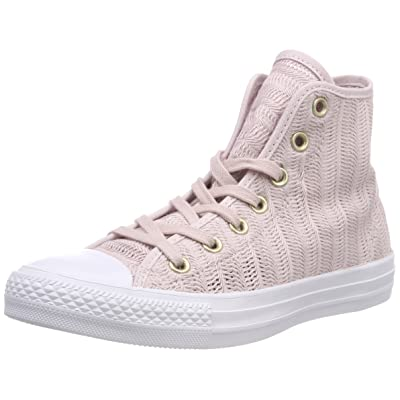 Converse Women's CTAS Barely Rose/Tan/White Hi-Top Trainers, Beige (Barely Rose/Tan/White 653) | Fashion Sneakers