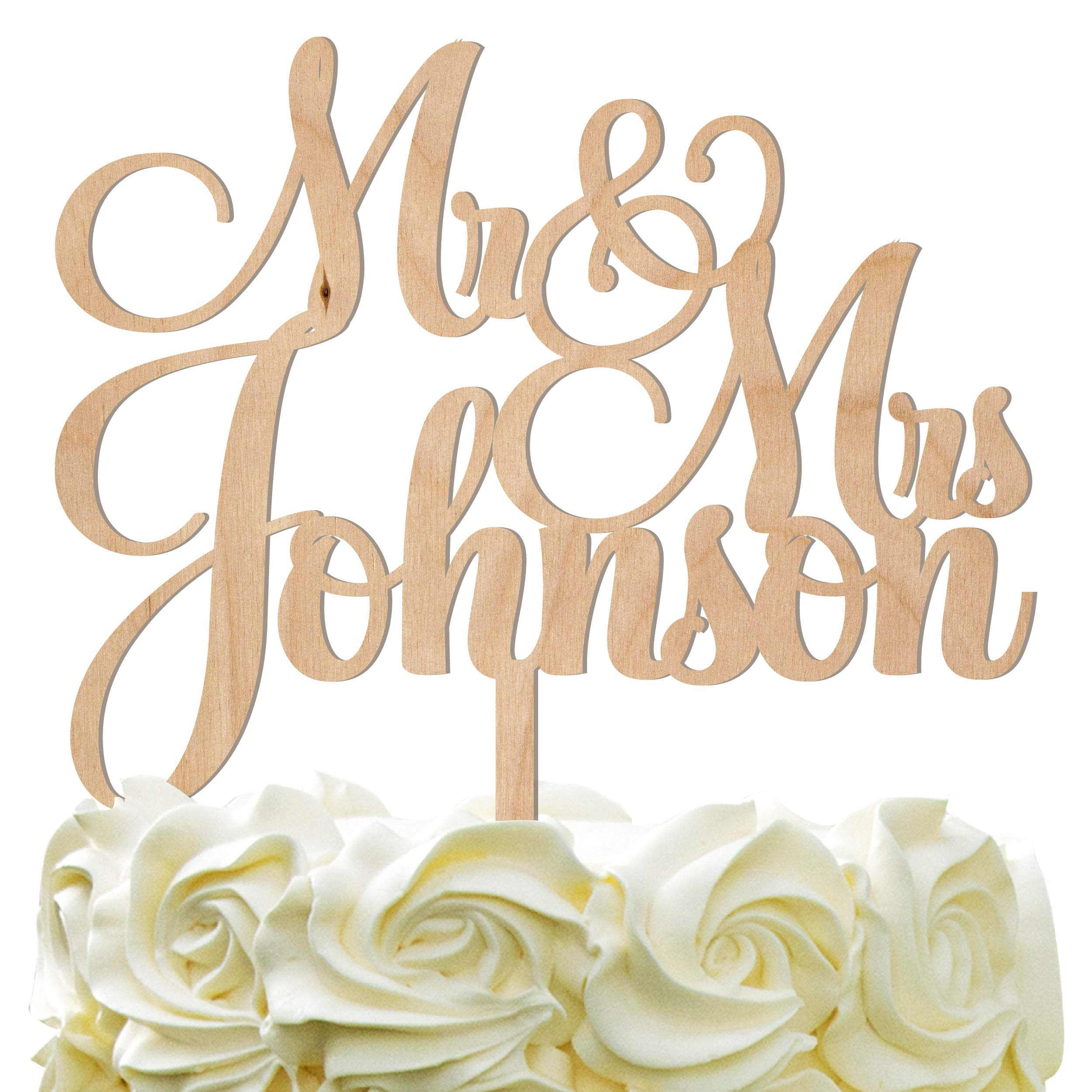 Personalized Wedding Cake Topper - Wedding Cake Decoration Customized Mr & Mrs Last Name To Be Bride & Groom script fontWood