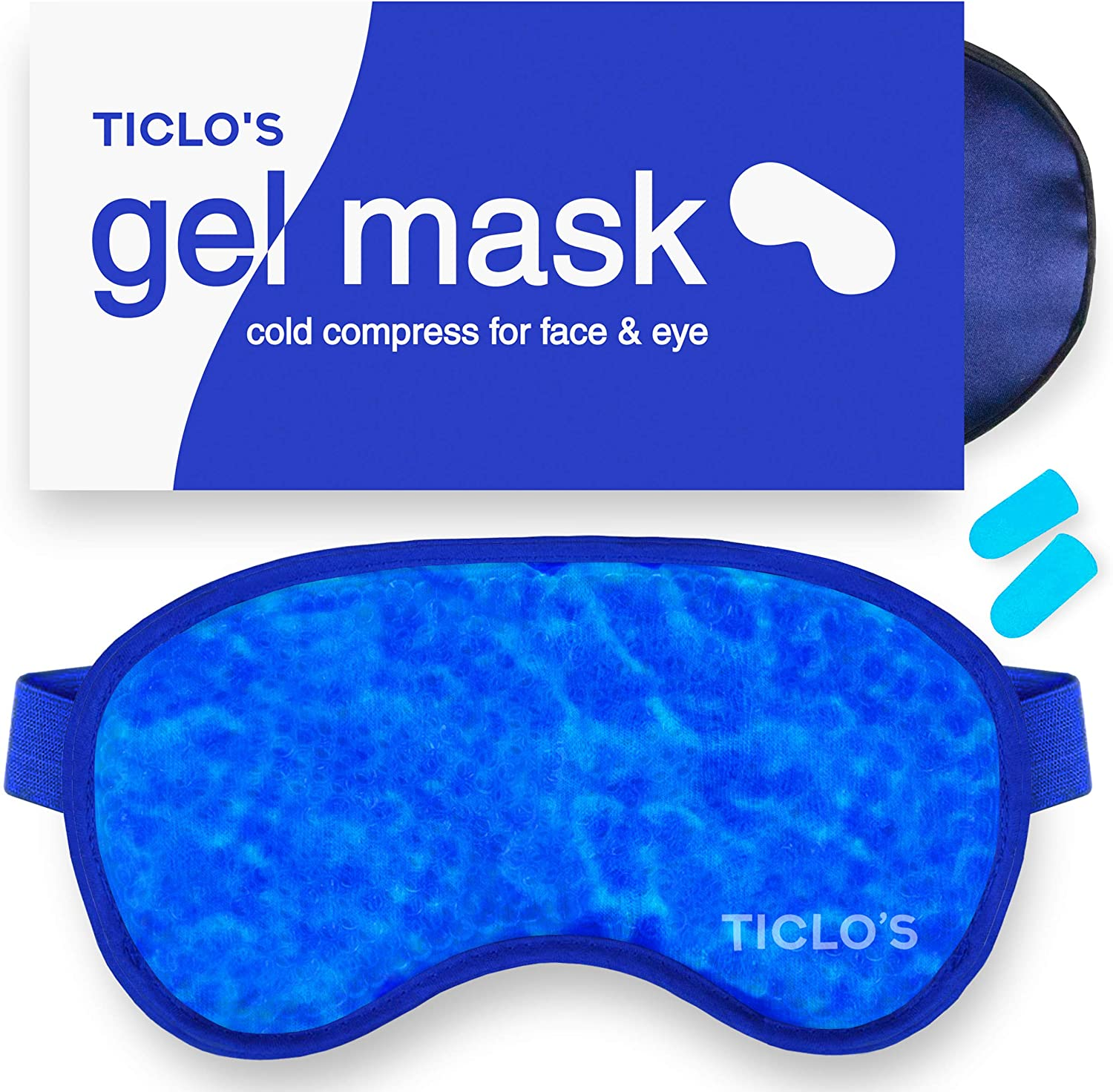 Ticlo's Gel Eye Mask - Cooling Ice Cold Compress Pad - Relax & Massage Your Tired, Puffy Eyes, Headaches, Face & Dark Circles - Bonus Silk Sleep Mask