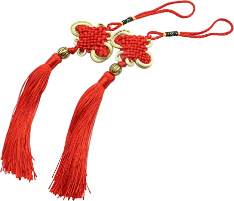 LBY Chinese Tassel Chinese Knot Red Handmade Tassels Chinese Knots Band Beads Lucky Knots To Attract Wealth Good Fortune and Health For Door and Car Handing Decoration,5pcs