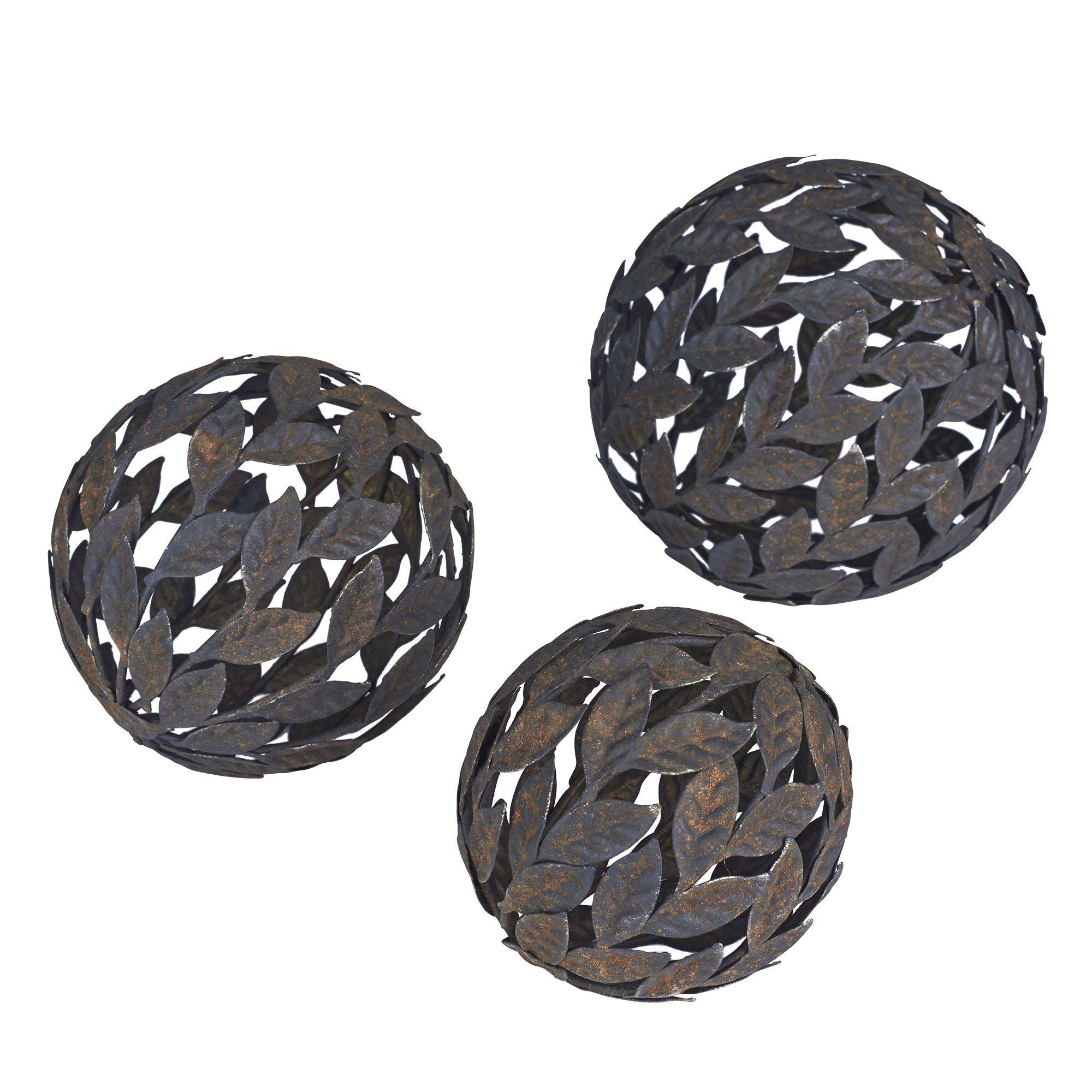 Household Essentials Metal Leaf Decorative Balls, 3 Piece Set, Bronze