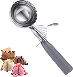 Cookie Scoop, Kmeivol Ice Cream Scooper, Thumb Press Ice Cream Scoop, Stainless Steel Cookie Scooper, 4 Oz with Gray Handle Scoop for Fruit, Cookie Dough, Cupcake Batter, Ice Cream