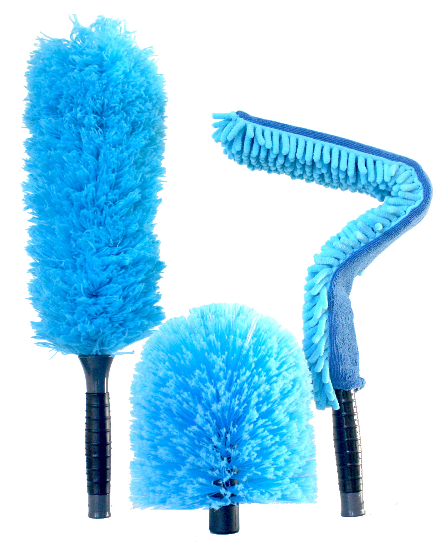 EVERSPROUT Duster 3-Pack | Hand-Packaged Cobweb Duster, Microfiber Feather Duster, Flexible Ceiling Fan Duster | Twists onto Standard 3/4'' Acme Threaded Poles (no Pole) (Soft Bristles)