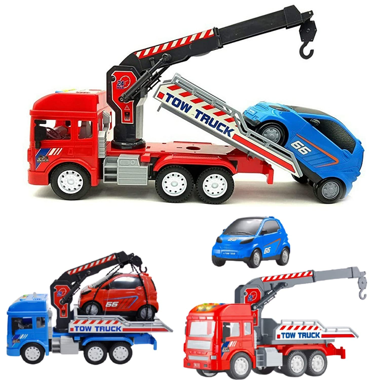 Unbreakable Pull Back Vehicles Crane Toy with car for Kids
