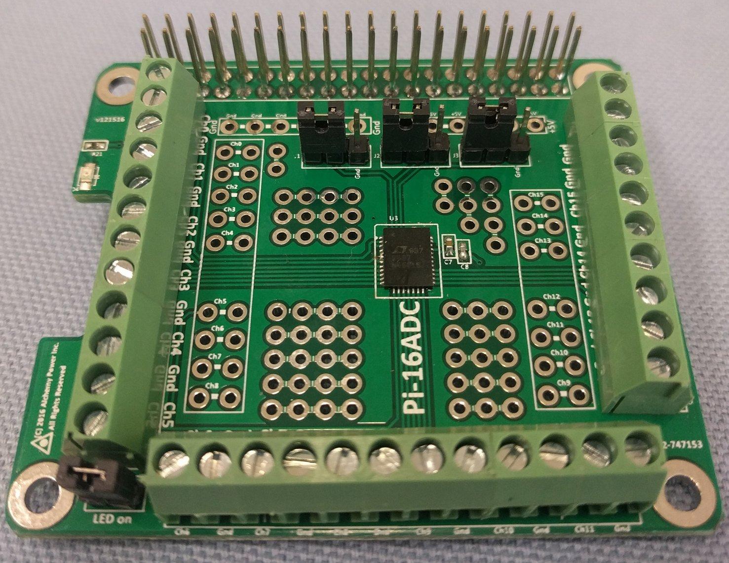 Alchemy Power Inc. Pi-16ADC. 16 channel, 16 bit Analog to Digital Converter (ADC) for Raspberry Pi by Alchemy Power Inc. TM