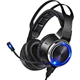 Gaming Headset for PS4, PS5, PC, Xbox One, Switch, Over-Ear Wired Gamer Headphones with Noise Cancelling Mic, Stereo Surround