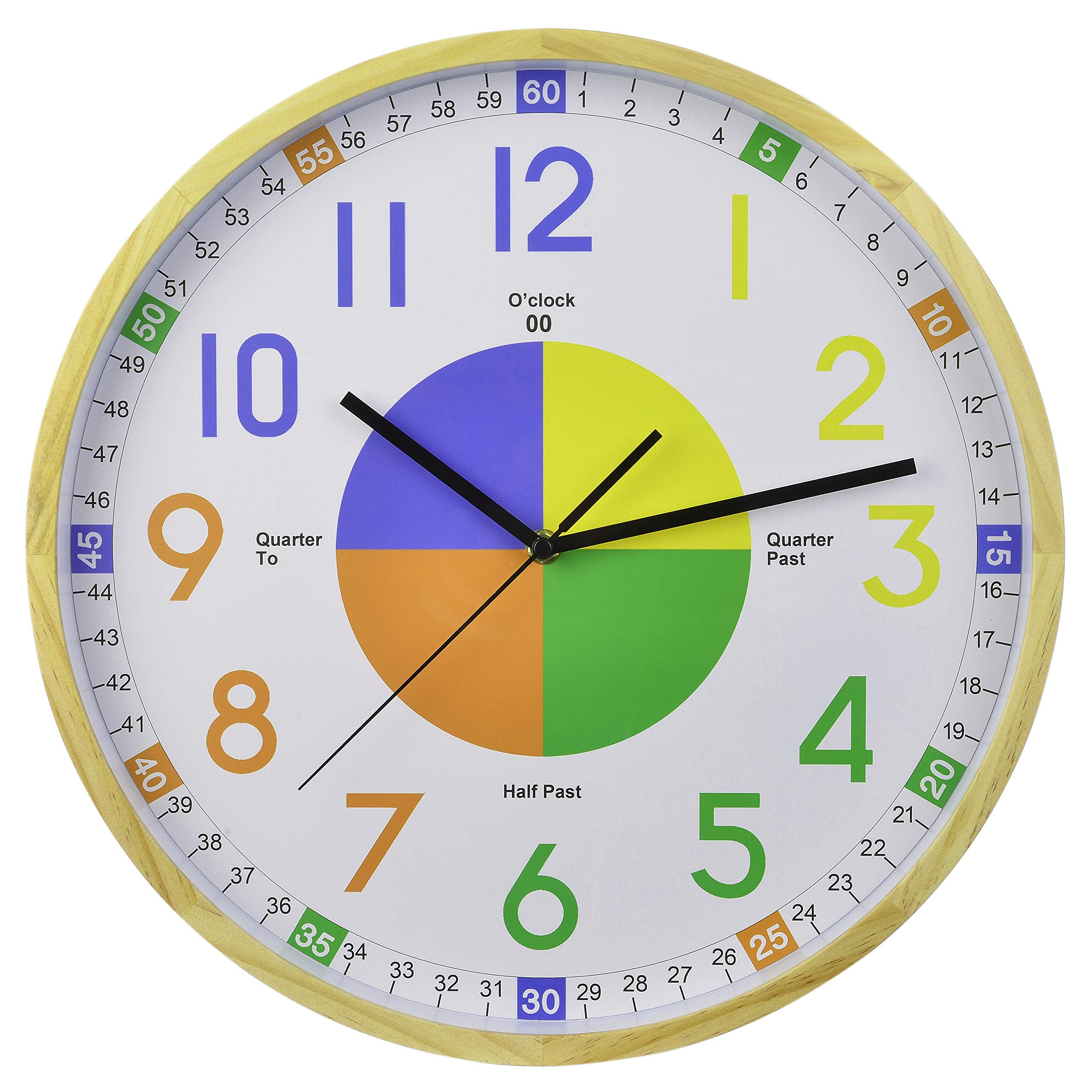 16-Inch Pine Frame Kids Learning Time Teaching Educational Wall Clock Colorful Large Decorative Silent Non-Ticking Battery Operated for Parents Teachers and Kids Bedroom Playroom Classroom by Old Oak