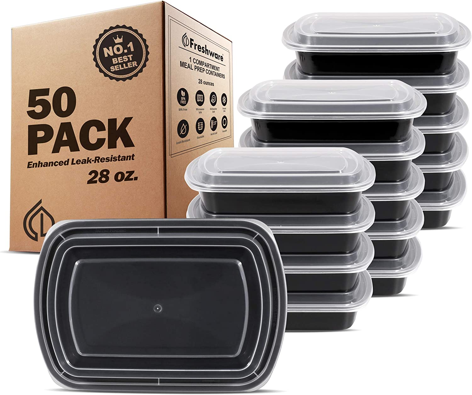 Freshware Meal Prep Containers [50 Pack] 1 Compartment Food Storage Containers with Lids, Bento Box | BPA Free | Stackable | Microwave/Dishwasher/Freezer Safe, Portion Control, 21 Day Fix (28 oz)