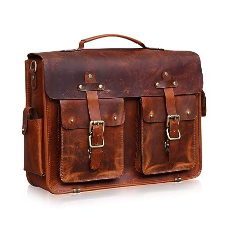 Mens Leather Briefcase Brown Messenger Laptop Bag Shoulder Vintage  Amazon. co.uk  Luggage 383cd77840e00