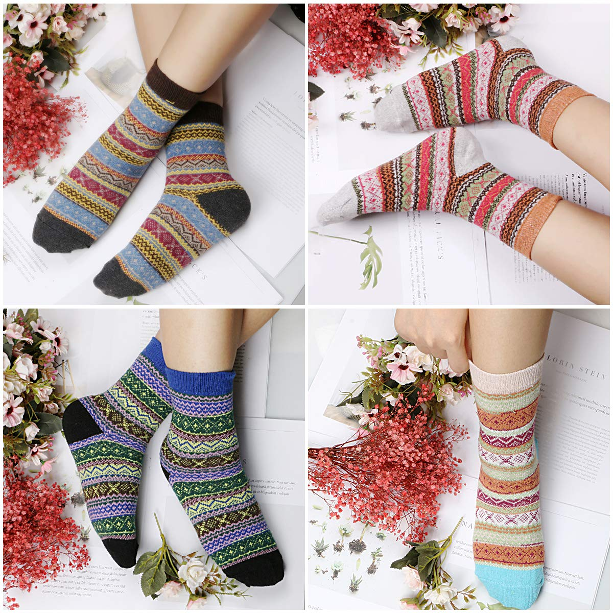 Philonext Calcetines para mujer de 6 pares - calcetines de lana ...