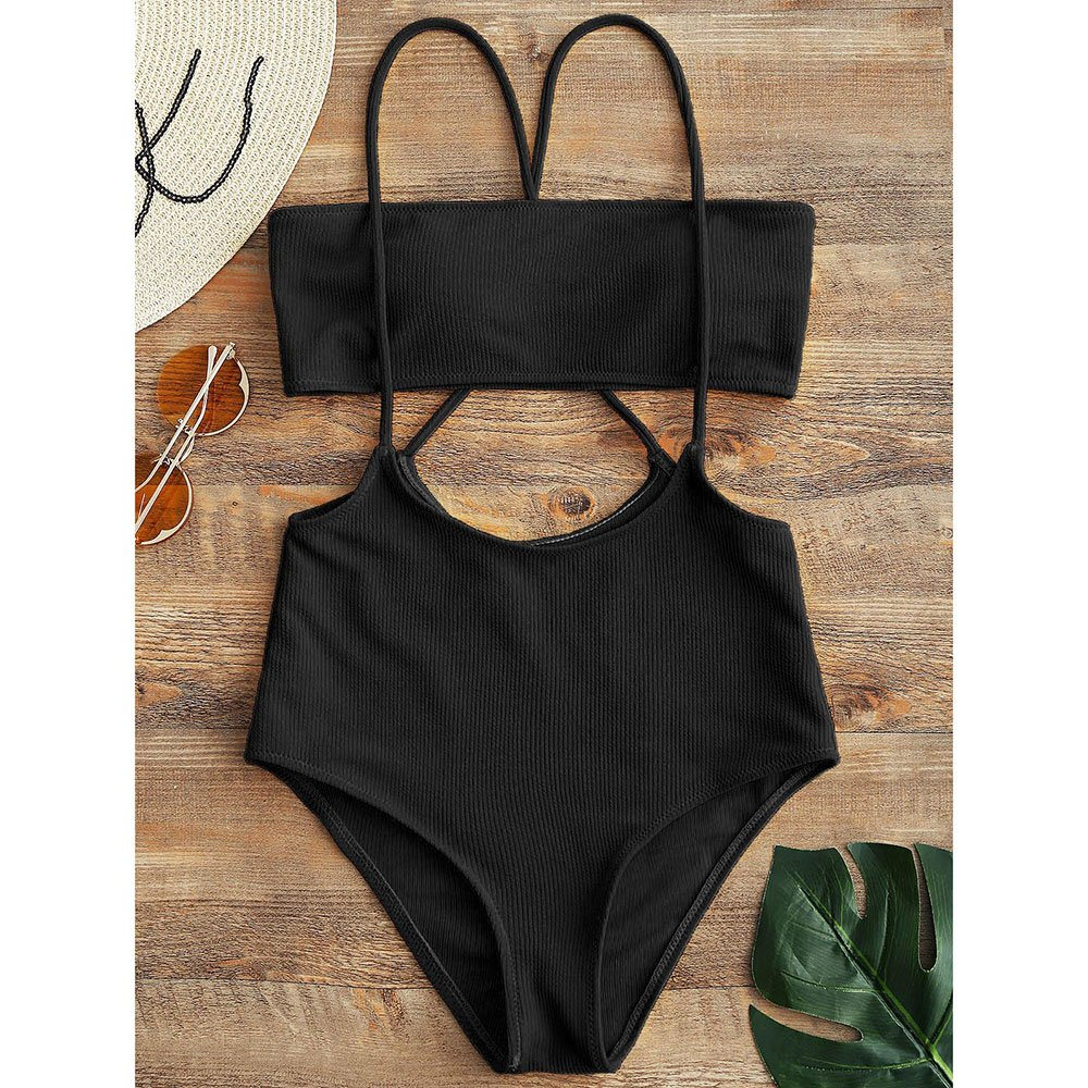 c1bd4f43d10a0 Amazon.com: ZAFUL Women's Two Piece Ribbed Bandeau Top and High Waisted  Slip Bikini Bottoms: Clothing