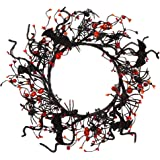 VGIA 16 inch Artificial Halloween Wreath Spider Pumpkin Wreath Berry Wreath for Front Door Fall Decorations