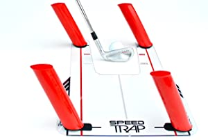 "EyeLine Golf Speed-Trap Base, 4 Red Speed Rods and Carry Bag; Shape Shots and Eliminate a Slice or Hook - Made in USA, 12"" x 18"""