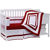 Baby Doll Bedding Modern Hotel Style Crib Bedding Set, Red
