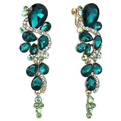 Clearine Women's Bohemian Boho Fashion Crystal Cluster Floral Chandelier Dangle Earrings pa93z