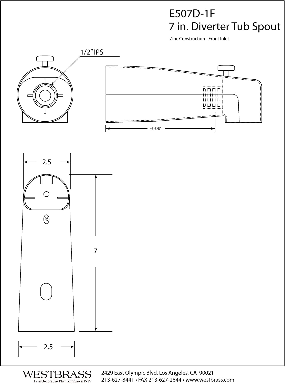 Polished Chrome Westbrass 7 Diverter Tub Spout E507D-1F-26