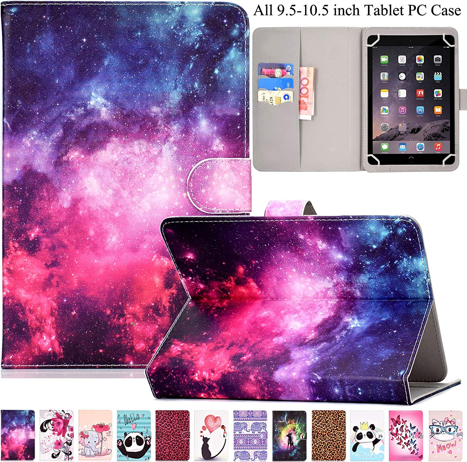 "Universal Case for 9.5""-10.5"" Tablet, Artyond PU Leather Cover Slim Fit Folio Cards Slots Case for All Fire HD 10, iPad 9.7 and More 9.6"" 9.7"" 10.1"" 10.5"" Android iOS Tablet (Starry Sky)"