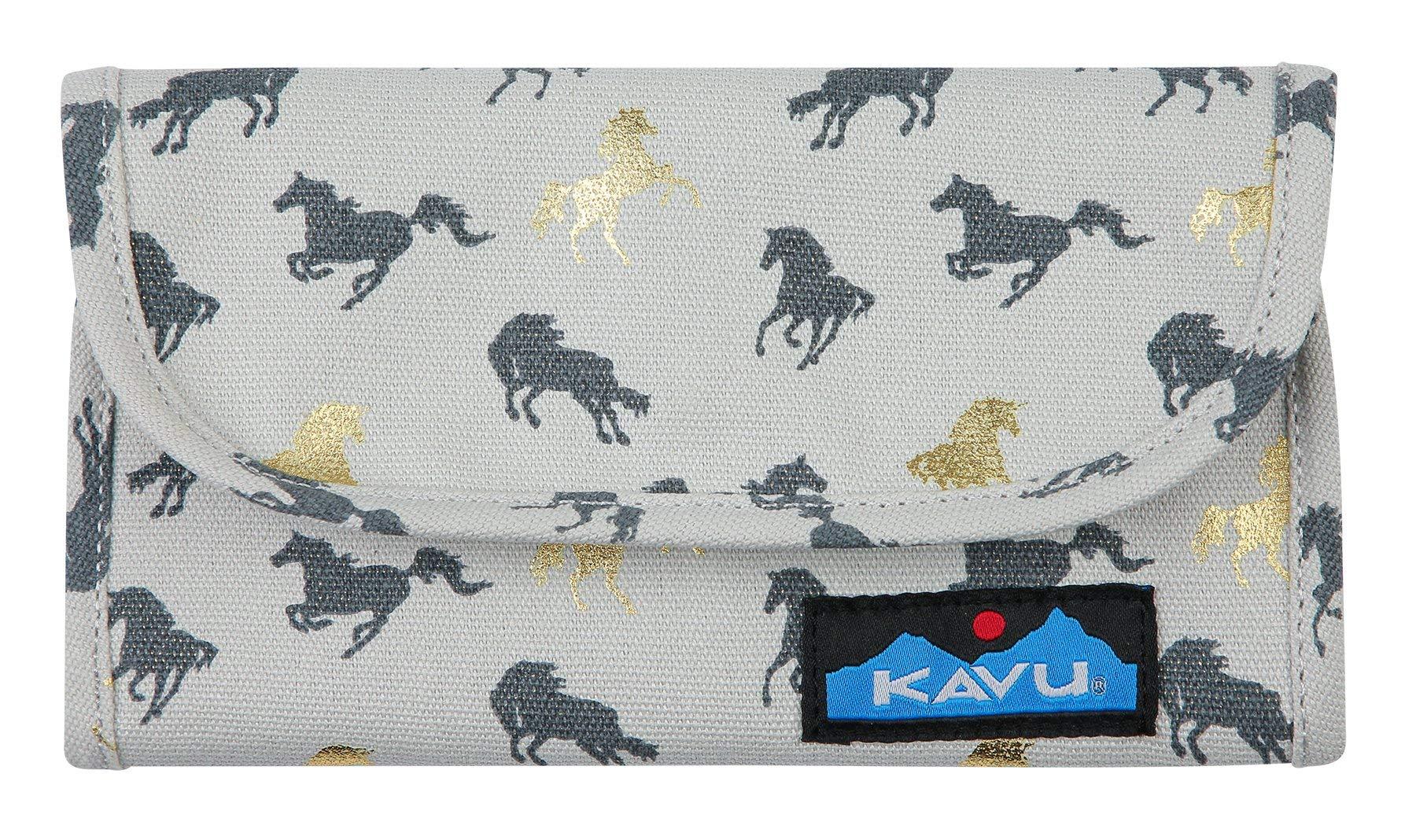 KAVU Big Spender Tri-fold Wallet Womens Cotton Clutch Travel Organizer - Wild Horses