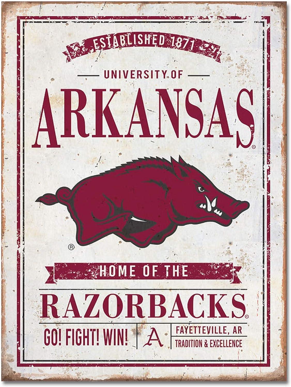 NCAA Legacy Arkansas Razorbacks Large Rectangle Tin Sign 12x16 Custom One Size