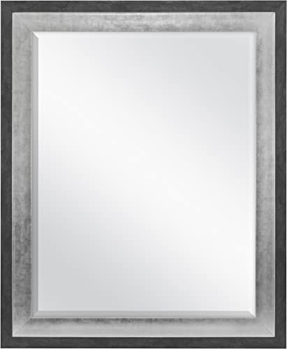 MCS 22×28 Inch Wall Mirror, 28×34 Inch Overall Size, Concrete with Silver Finish