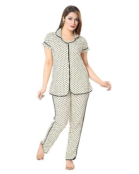 AV2 Women Cotton Printed Top & Pyjama Set Pyjama Sets at amazon