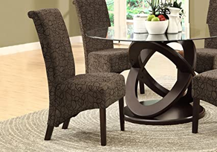 Monarch Specialties Brown Swirl Fabric Parsons Chairs, Set Of 2