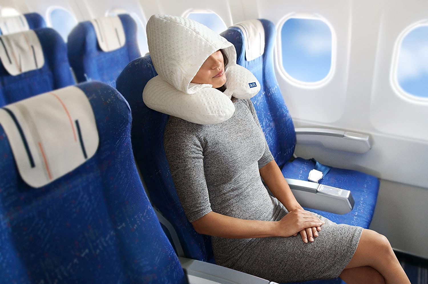 dr d s travel pillow plus with memory foam adjustable hood for