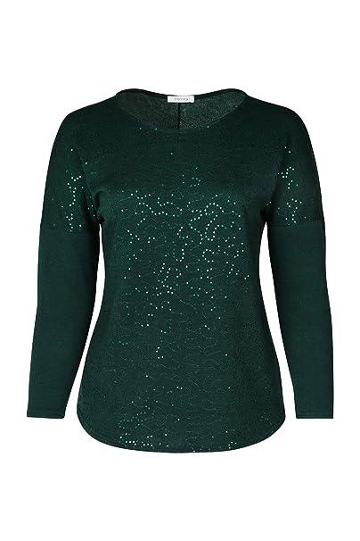 dcc71666a4c4 PAPRIKA Damen große Größen Pullover mit Paillettenmuster dunkelgrün M (46)