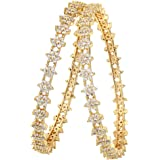 Sasitrends CZ/AD Micro Gold Plated American Diamond Star Design Bangles For Women
