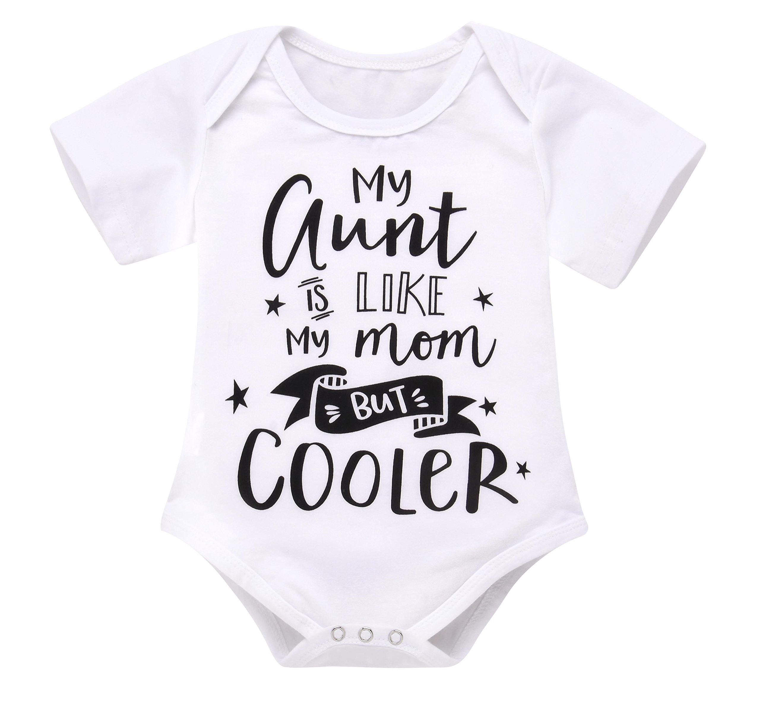 Seven Young Infant Baby Bodysuit,Newborn Boys Girls Short Sleeve Aunt Romper Playsuit Outfit Clothes (White, 3-6 Months)