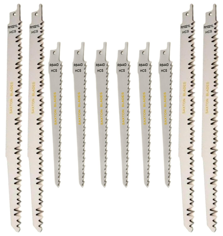 Juego de 10 hojas de sierra de sable recí proca Saxton para madera, compatible con Bosch, DeWalt y Makita (RPR10MXC)
