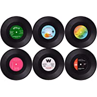 Wolfteeth Coasters for Drinks with Gift Box - Set of 6 Colorful Retro Vinyl Record Disk Coasters -Prevent from Dirty and Scratched