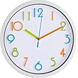 Bernhard Products Colorful Kids Wall Clock 10 Inch Silent Non Ticking Quality Quartz Battery Operated Wall Clock, Easy…
