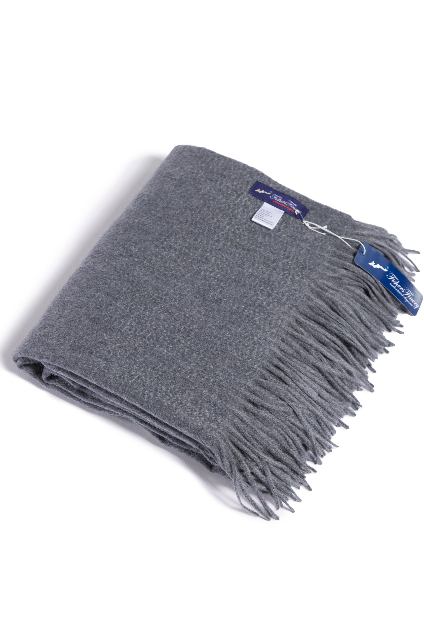 Fishers Finery 100% Pure Cashmere Fringe Throw Blanket; Christmas Gift (Gray)