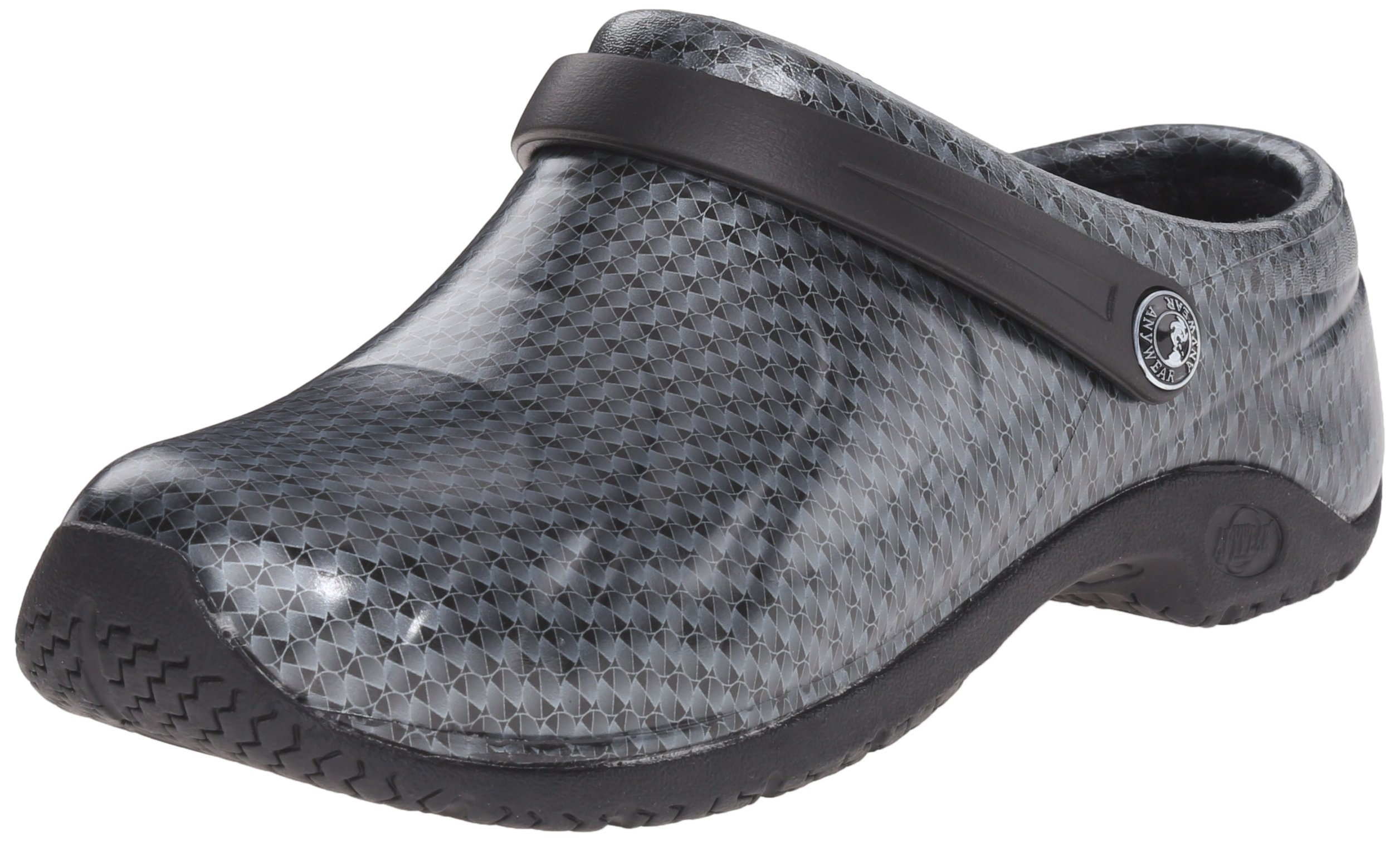 Anywear Women's Zone Work Shoe, Black Silver Pattern, 8 M US