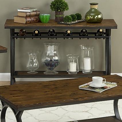 Amazon Com Dcg Stores Harper S Press Sofa Table Wine Rack Dark