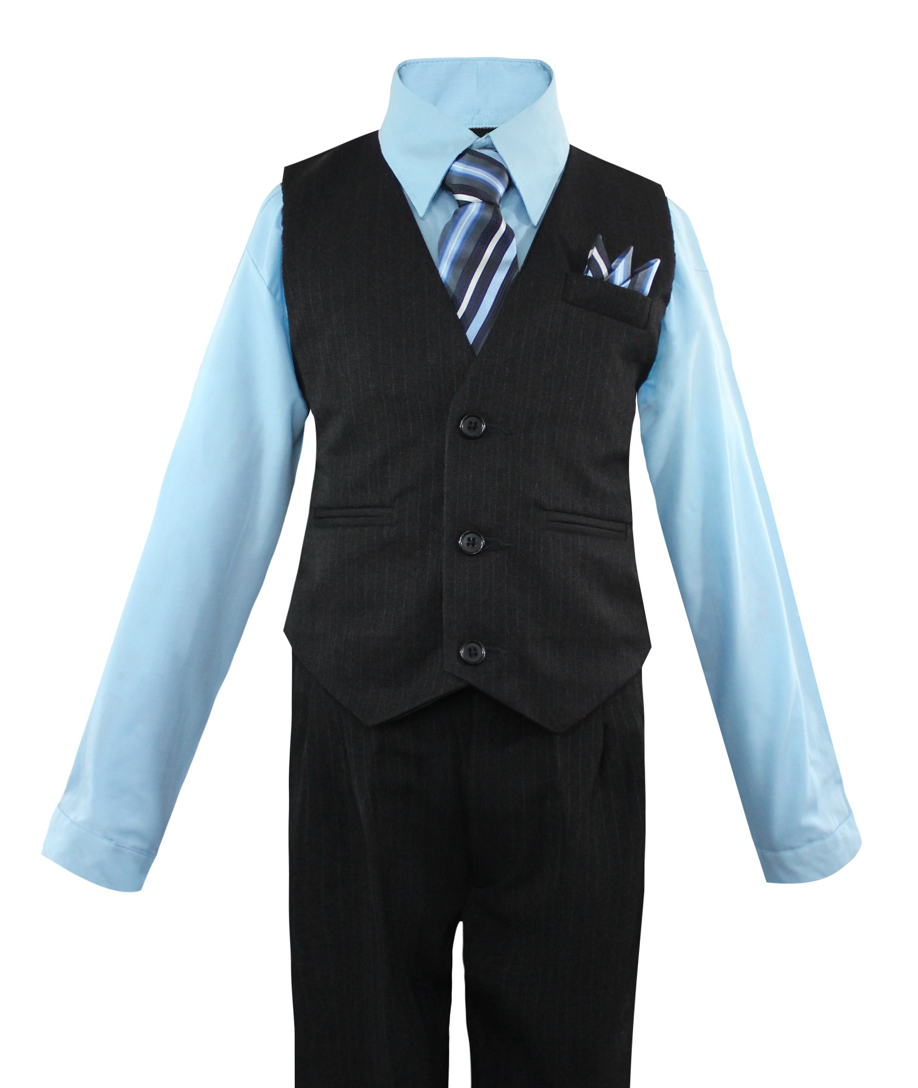 Luca Gabriel Toddler Boys' 4 Piece Pinstripe Vest Shirt Tie Pant and Hanky Set Sky Blue - 12