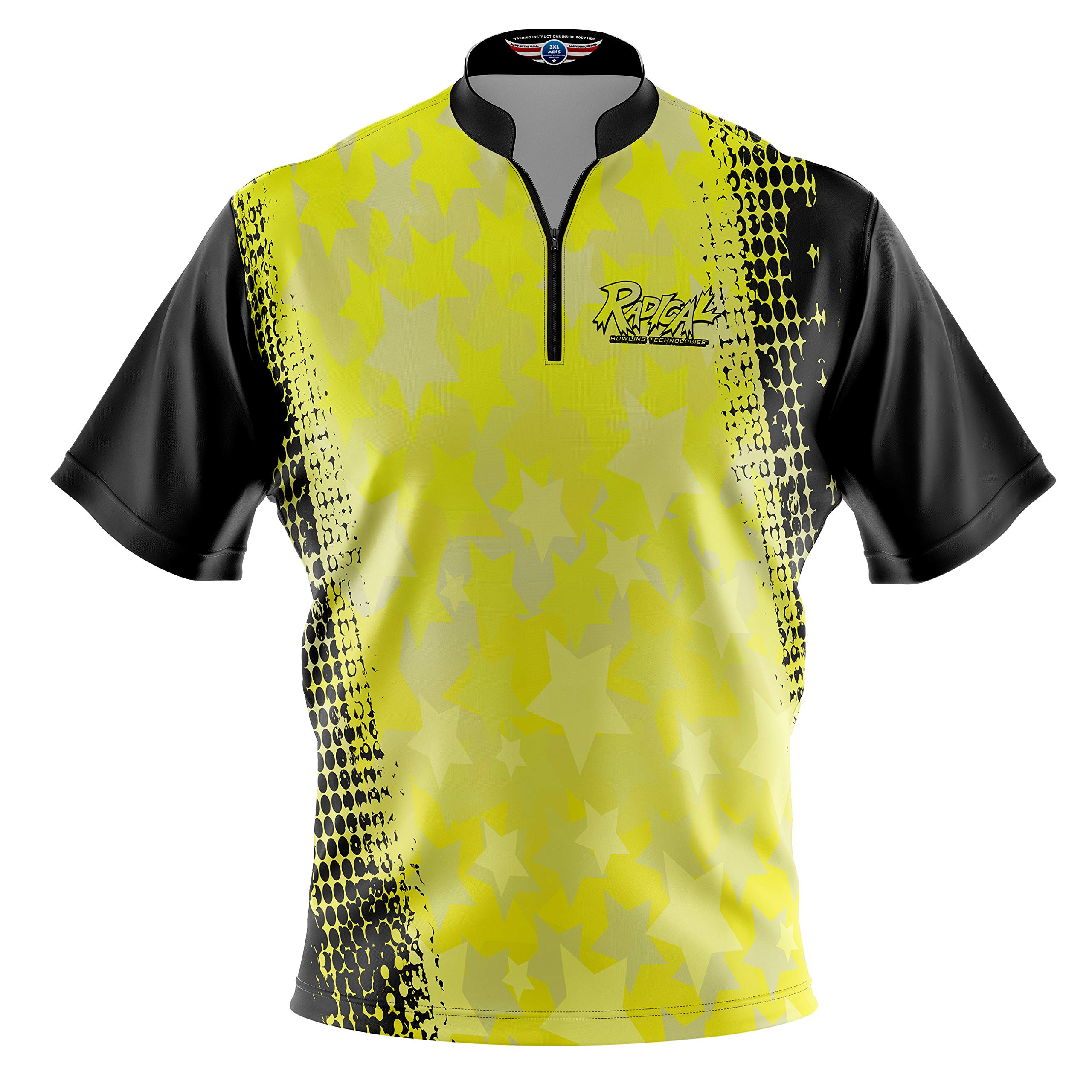 Logo Infusion Bowling Dye-Sublimated Jersey (Sash Collar) - Radical Style 0338 - Sizes S-3XL (L) Yellow Black by Logo Infusion