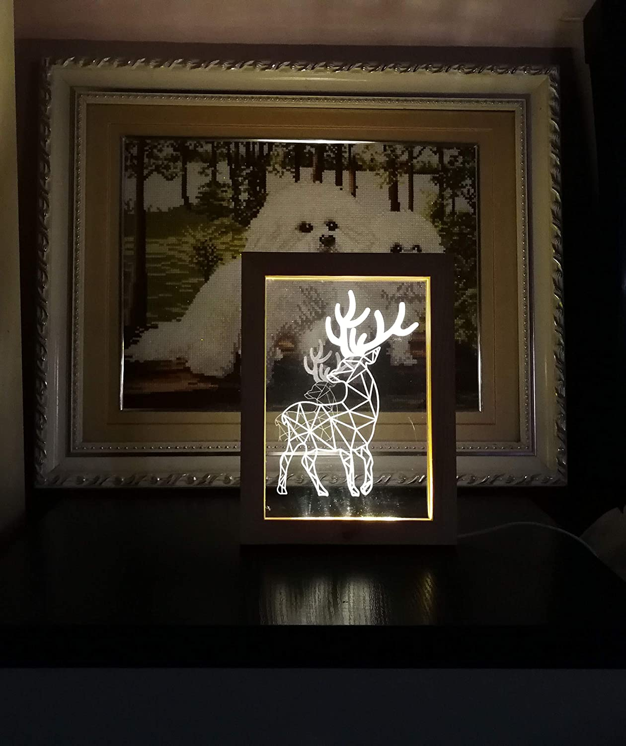 Decor Lighting of Hall Hotel Lobby Bedroom Exhibition Halls Bathroom 9X6.7X0.8in Cool Picture Night Light and Cute Sleeping Lamp for Kids Eiffel Tower Living Room Kevmiya LED Picture Frame
