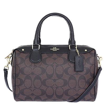 a116d9759b56e Amazon.com: Coach Signature Mini Bennet Satchel - Brown/Black: Shoes