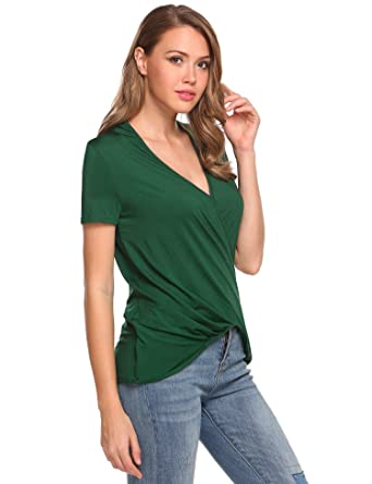 1096c66cb23c08 etuoji Women Deep V-Neck Solid Cross Front Wrap Draped Blouse Tops Army  Green Small