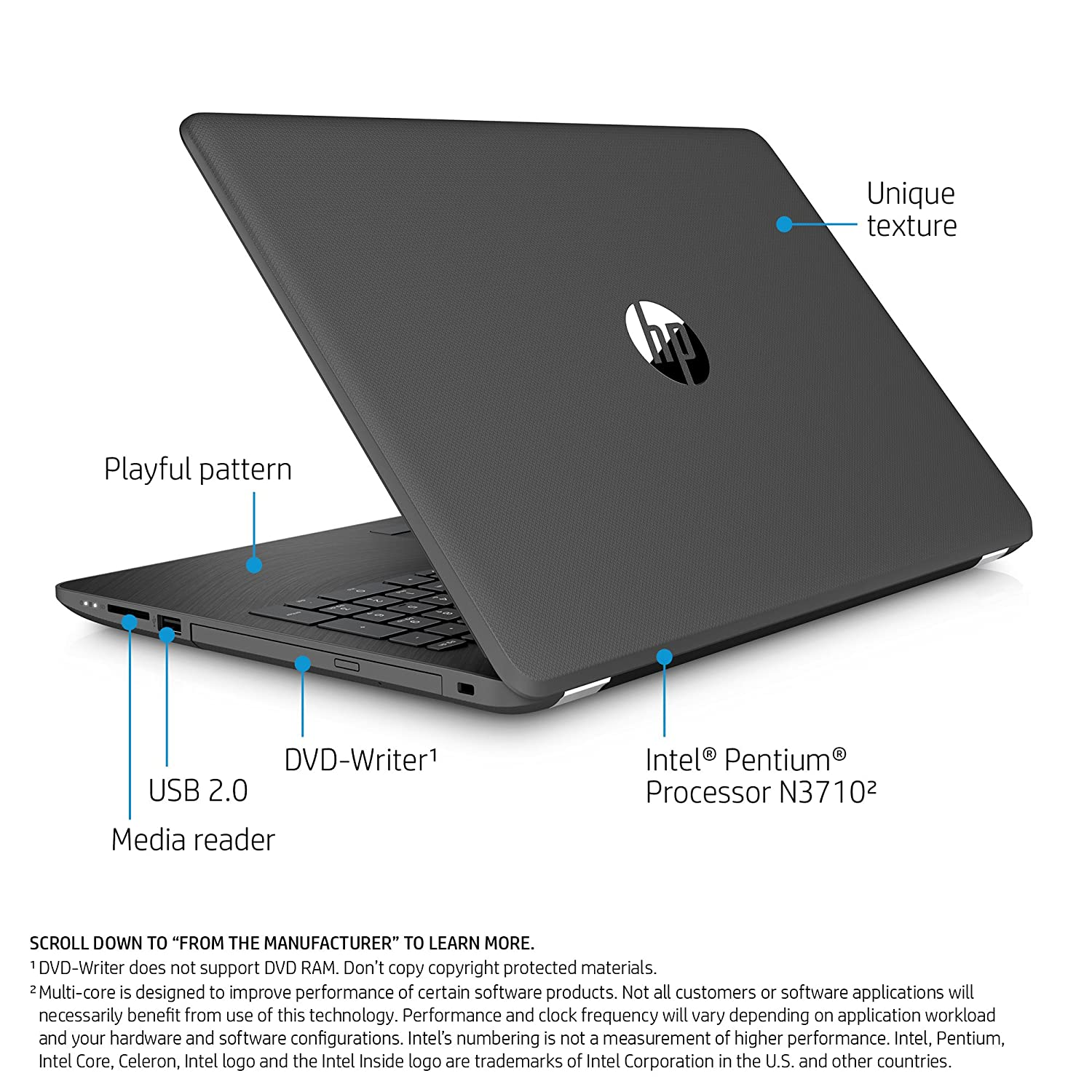 Amazon.com: HP 15-inch Laptop, Intel Pentium N3710, 4GB RAM, 1TB hard drive, Windows 10 (15-bs010nr, Gray): Computers & Accessories