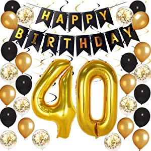 40th Birthday Decorations for Men Women, Besteek Black and Gold Party Decorations 40 Birthday Balloons Party Supplies Happy for Birthday, Festivals, Anniversary Parties