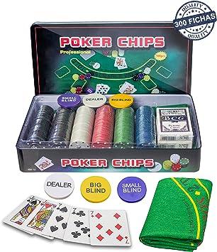 Professional Set de póker Caja de Metal, 300 fichas de pókerr, 2 ...