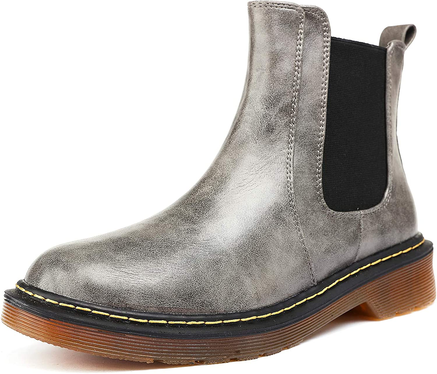 Odema Womens Chelsea Boots PU Leather Low Heel Elastic Slip On Ankle Bootie Cotton/Fur Lining