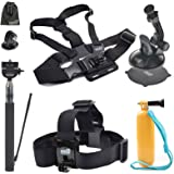 EEEKit Accessories Starter Kit for Activeon CX Action Cam Camera, Head Strap/Floaty Grip Handle Pole/Chest Harness/Car/Selfie Stick Monopod Pole Mount