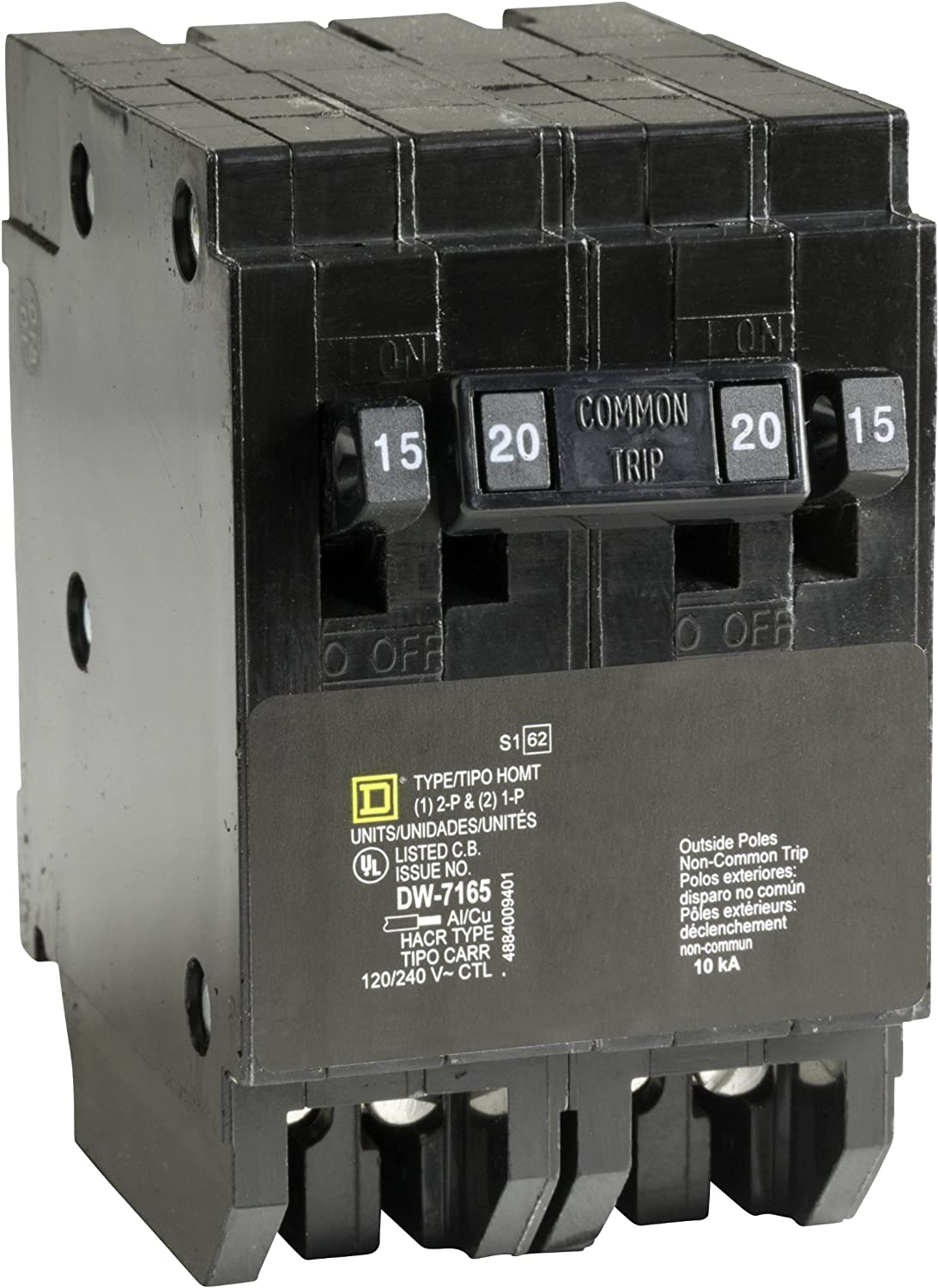 Square D by Schneider Electric HOMT1520CP Homeline 1-15-Amp 1-20-Amp Single-P...