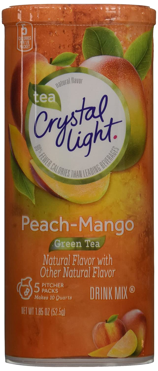 Crystal Light Natural Green Tea Peach Mango Drink Mix (30 Pitcher Packets, 6 Canisters of 5)