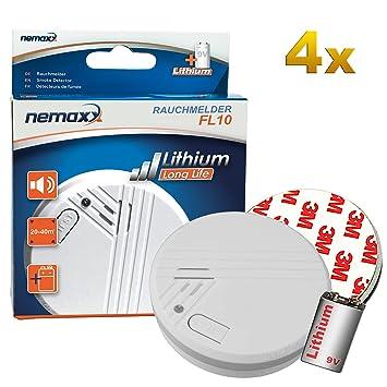 4X Nemaxx FL10 Detector de Humo - Detector de Calidad con Pila de 10 años de